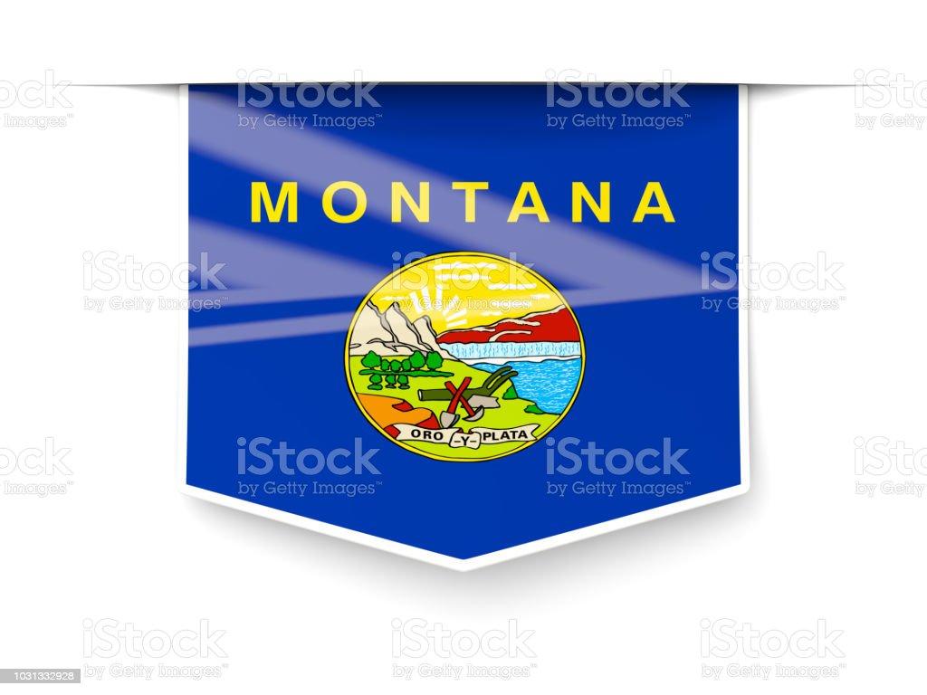 Bandeira do estado de Montana quadrado rótulo com sombra. Bandeiras de locais dos Estados Unidos - foto de acervo