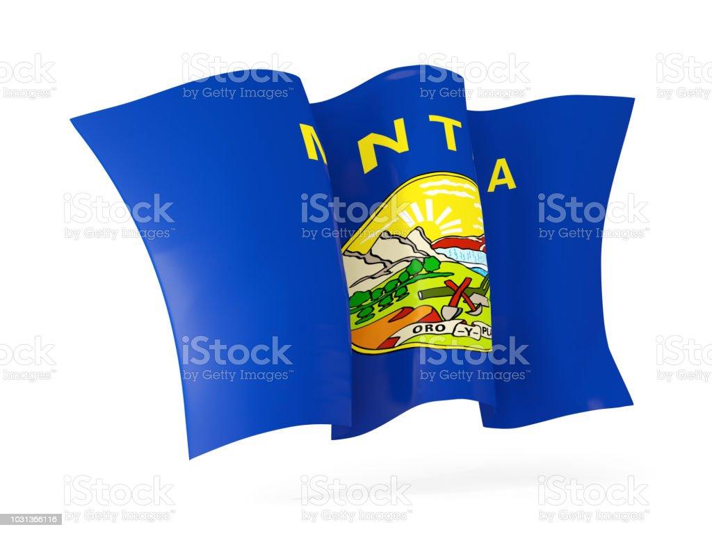 close-up ícone agitando bandeira do estado de Montana. Bandeiras de locais dos Estados Unidos - foto de acervo