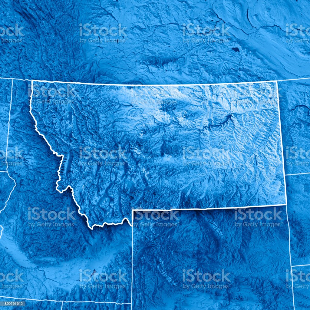 Montana State Usa 3d Render Topographic Map Blue Border Stock Photo