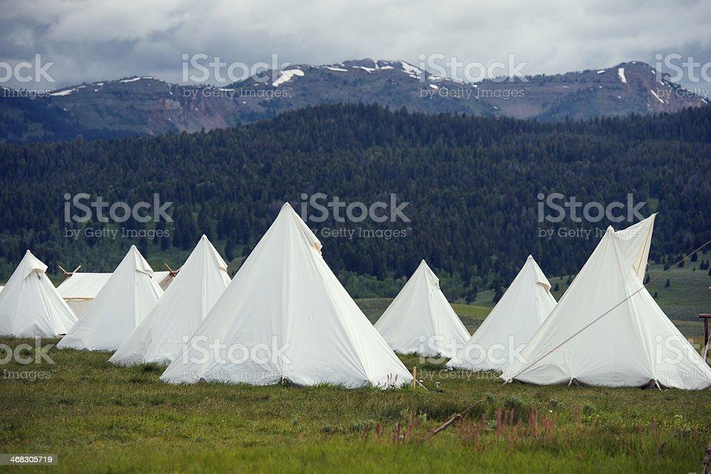 Montana TeePee Campground Under Stormy Skies stock photo