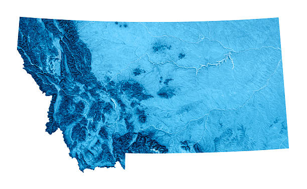 Montana Topographic Map Isolated 3D render and image composing: Topographic Map of Montana, USA. Isolated on White. High quality relief structure! topographic map stock pictures, royalty-free photos & images