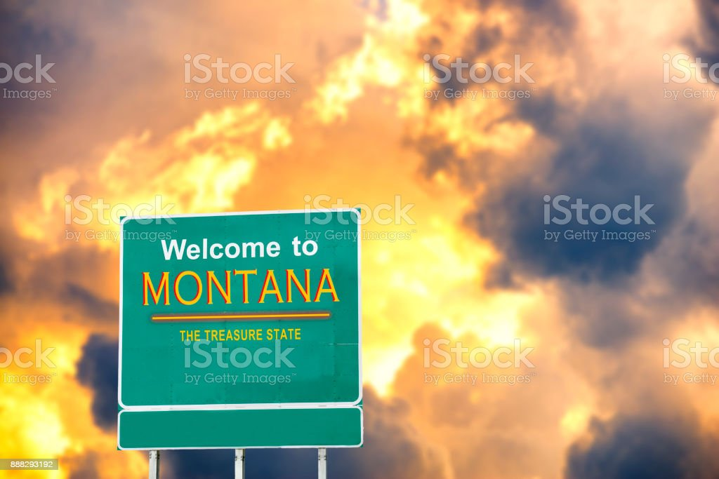 Montana, Welcome road sign stock photo