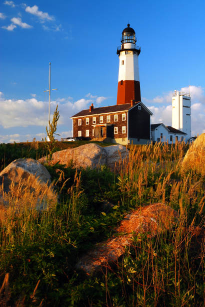Montauk Light Montauk Point Light is one of the Oldest Lighthouse in America outcrop stock pictures, royalty-free photos & images