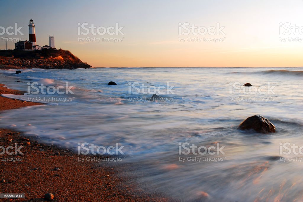 Montauk Lighthouse and tide stock photo