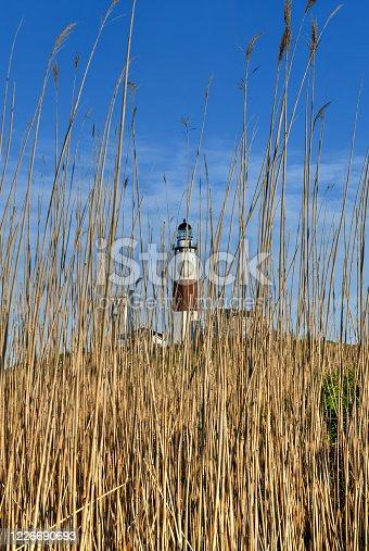 Montauk Lighthouse and beach in Long Island, New York, USA.