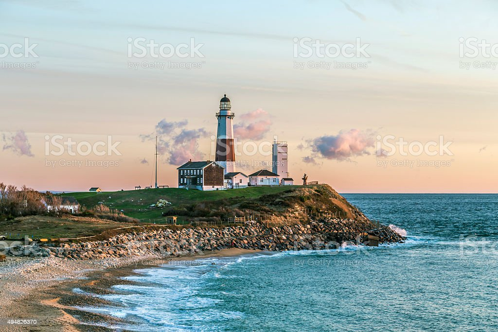 Montauk Point Light, Lighthouse, Long Island, New York, Suffolk stock photo