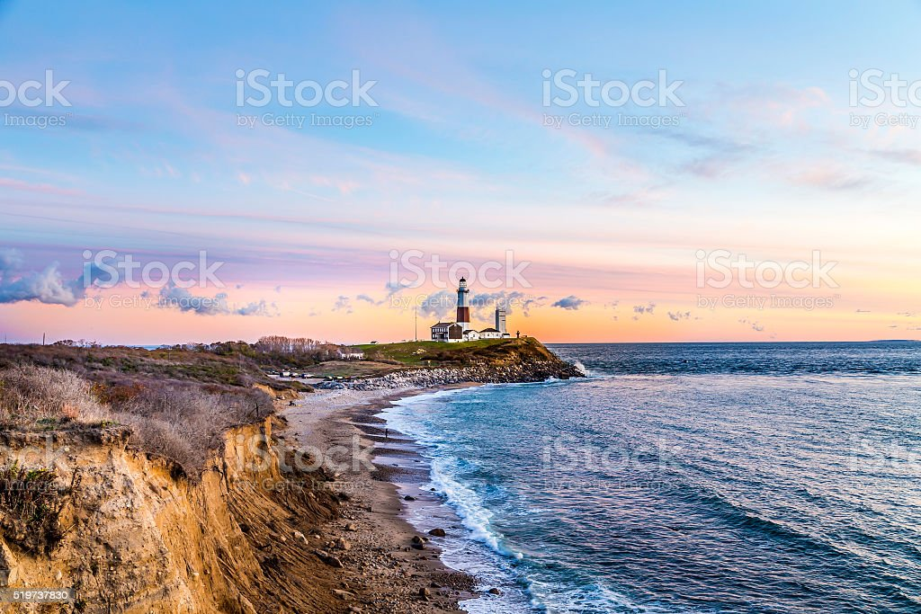 Montauk Point Light, Lighthouse, Long Island, New York, Suffolk royalty-free stock photo