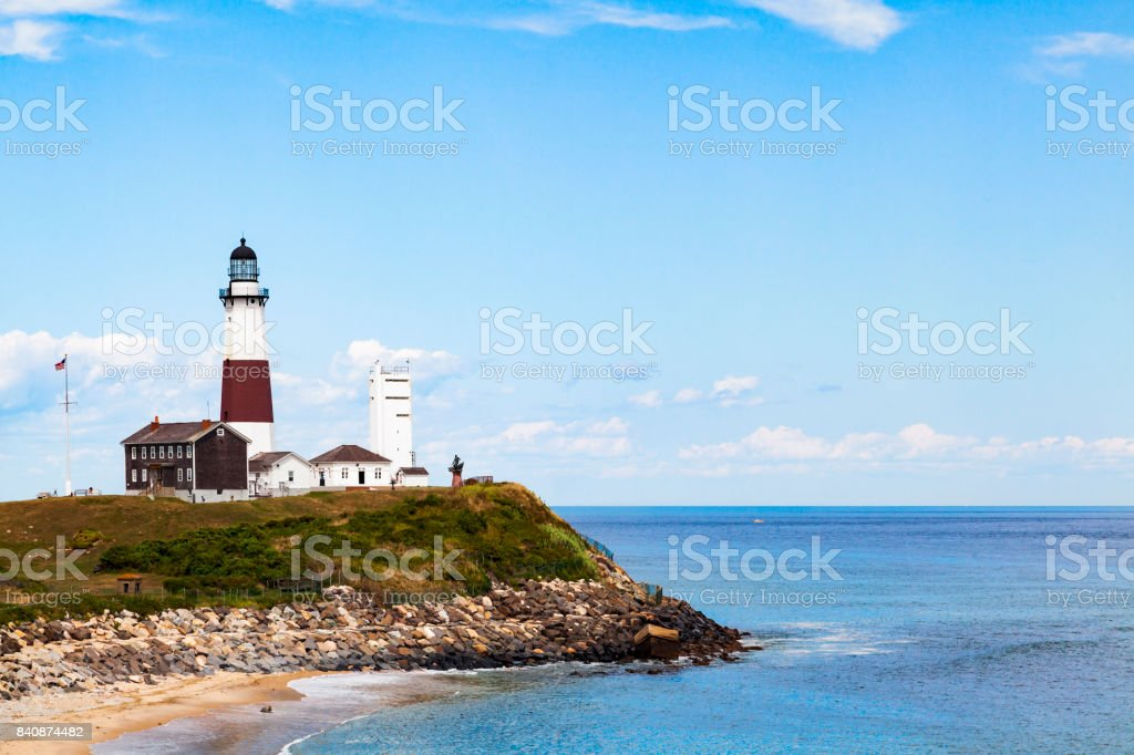 Montauk Point Lighthouse and the Atlantic Ocean stock photo