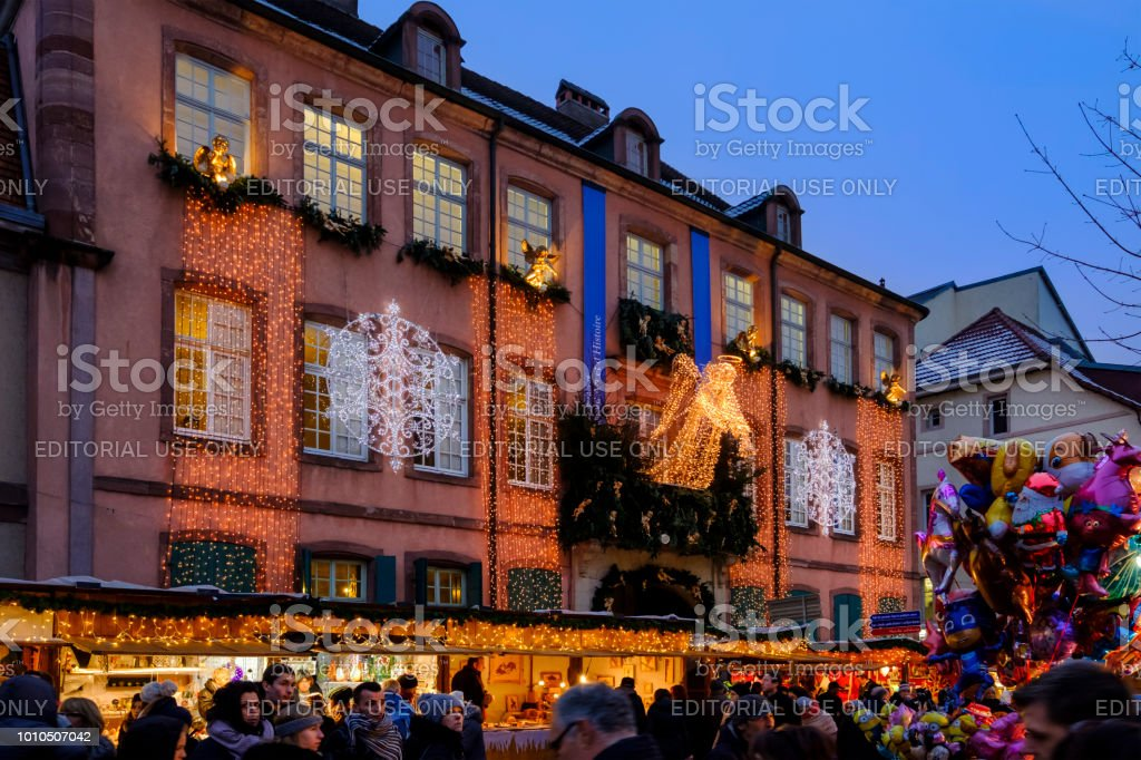 People enjoying the advent in the old town of Montbéliard, next to...