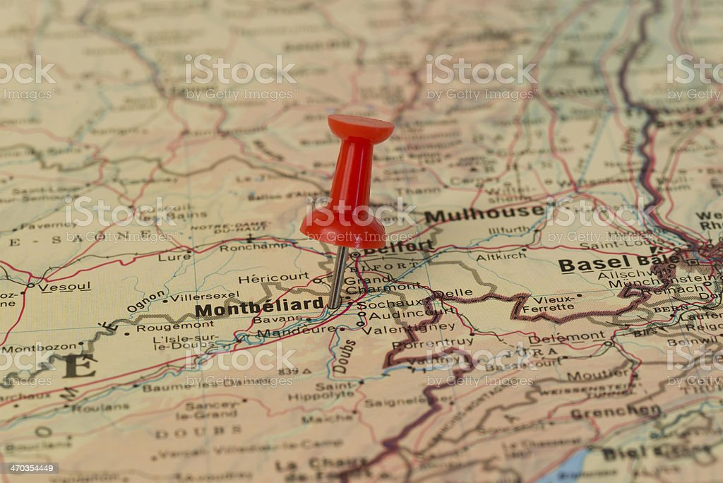 Montbéliard Marked With Red Pushpin on Map stock photo