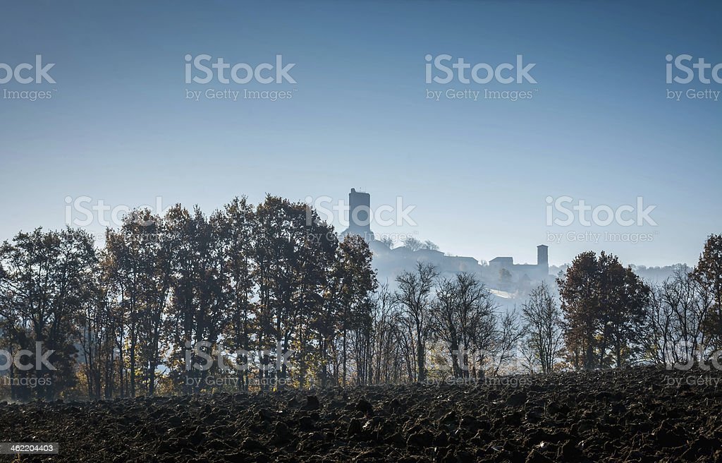 Montcuq in Winter stock photo