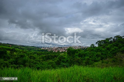 Photograph of Monte Belo, a rural city in the southern part of Minas Gerais state, Brazil, with cloudy skies.