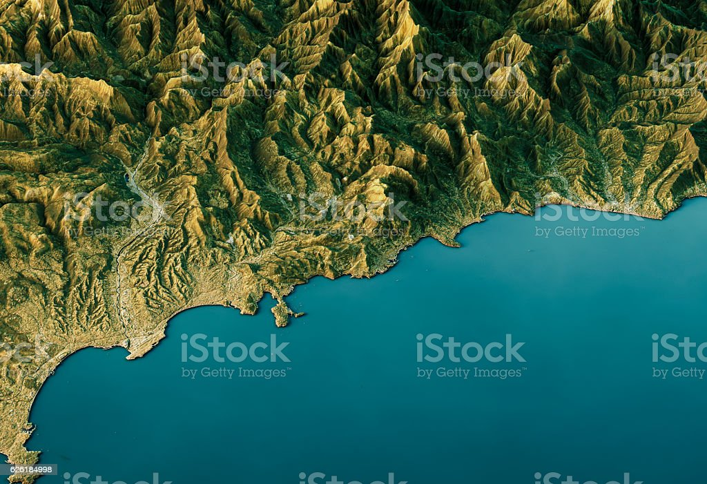 Monte Carlo 3D Landscape View South-North Natural Color stock photo