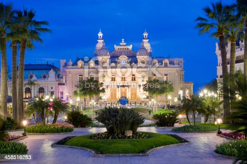Monte Carlo, Monaco - March 26th 2010:  Monte Carlo Grand Casino and the Jardin Exotique at dawn.