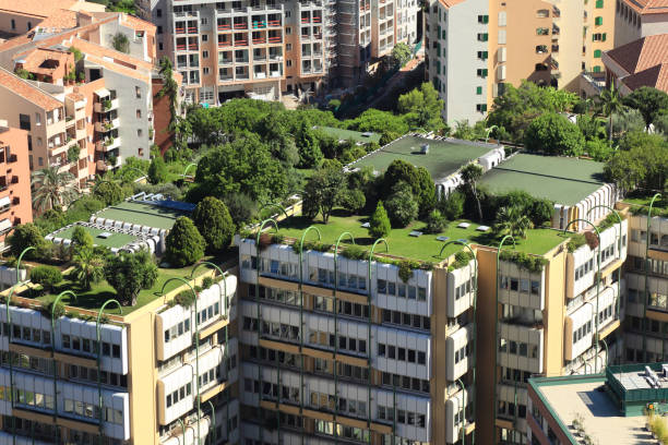 monte carlo city roofs - environmental conservation stock photos and pictures