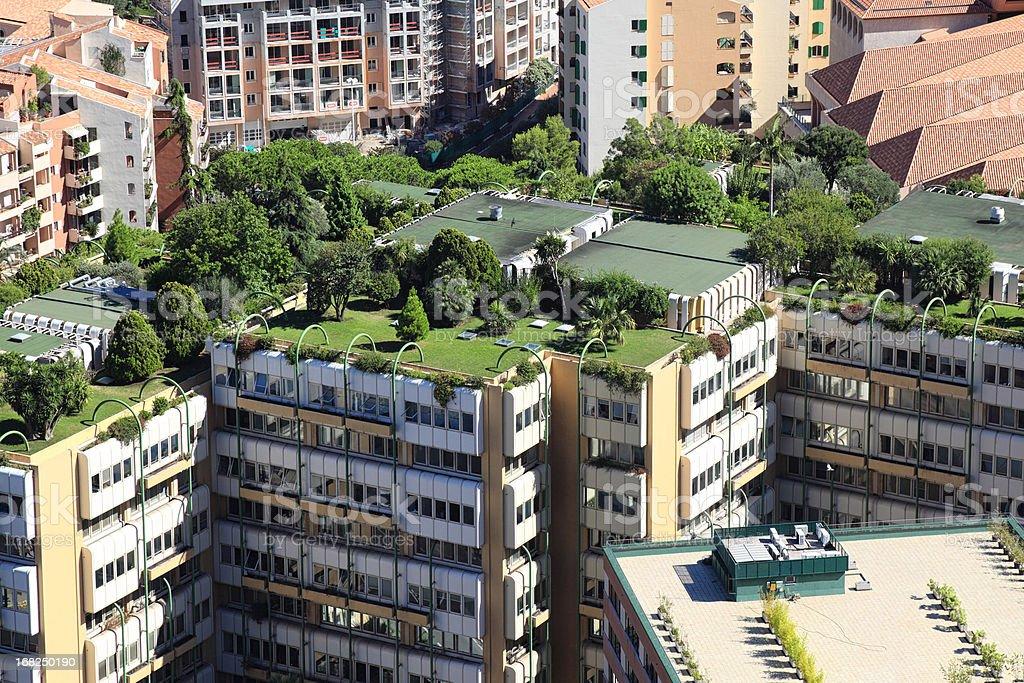 Monte Carlo city roofs stock photo