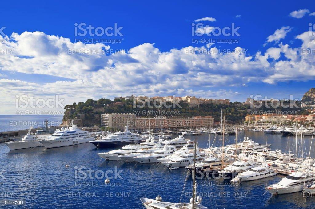 Monte Carlo harbor stock photo