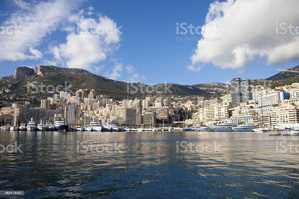Monte Carlo harbour seen from the sea royalty-free stock photo
