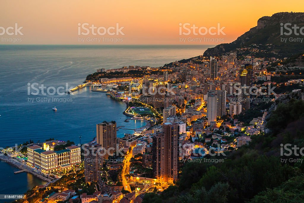 Monte Carlo in View of Monaco at night stock photo