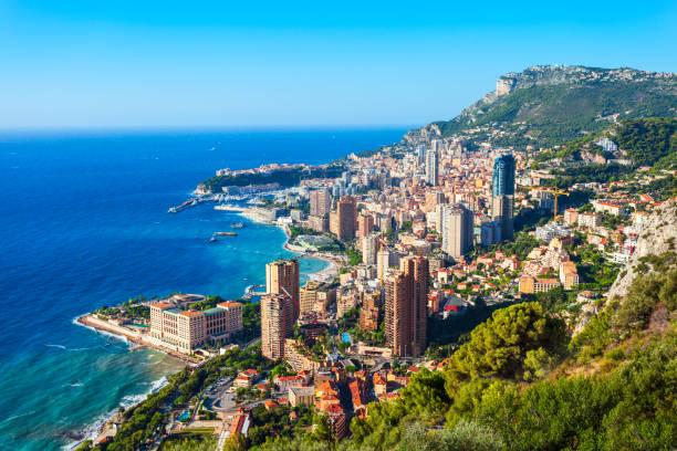 Monte Carlo, Monaco aerial view stock photo