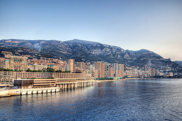 Monte Carlo, Monaco The famous waterfront of Monte Carlo in Monaco. The ornate Grand Casino can be seen on the far left. Image processed for high dynamic range. davelongmedia stock pictures, royalty-free photos & images