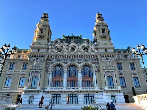 Monte Carlo, Monaco - December 22 2019: Monte Carlo Opera House exterior with clear blue sky