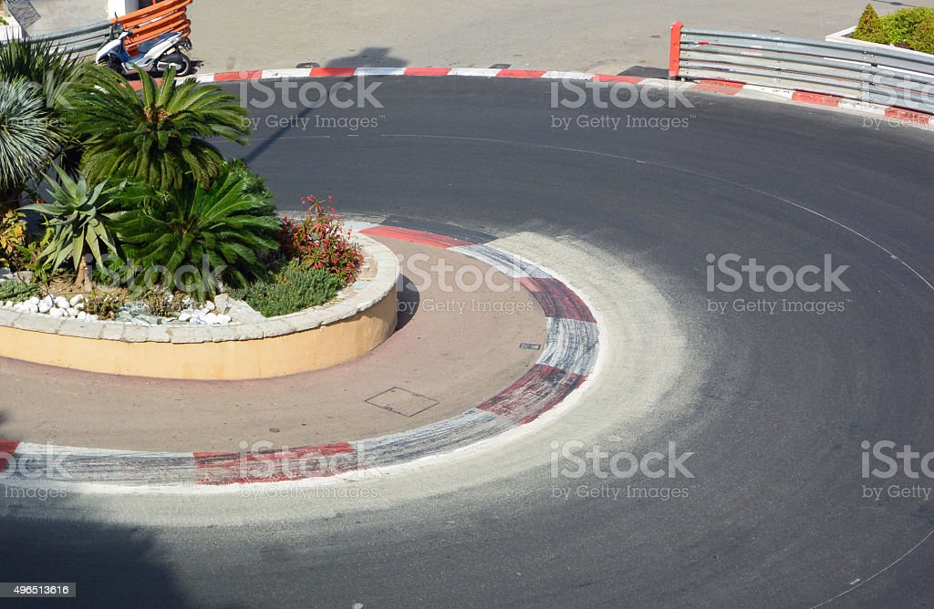 Monte Carlo Race Track Bend stock photo