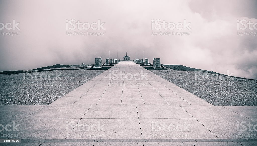 Monte Grappa Sanctuary, memorial for WWI soldiers, b&w intention stock photo