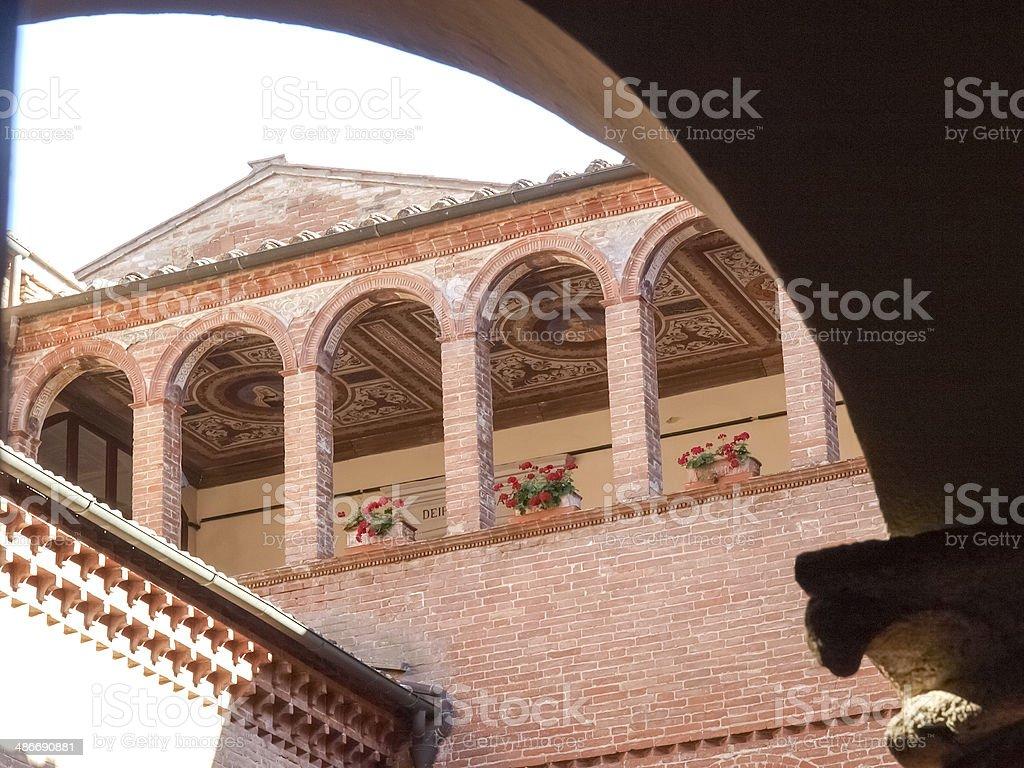 Monte Oliveto Maggiore Abbey stock photo