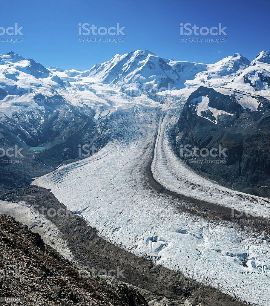Monte Rosa and Liskamm from Gornergrat point (panoramic) - I stock photo