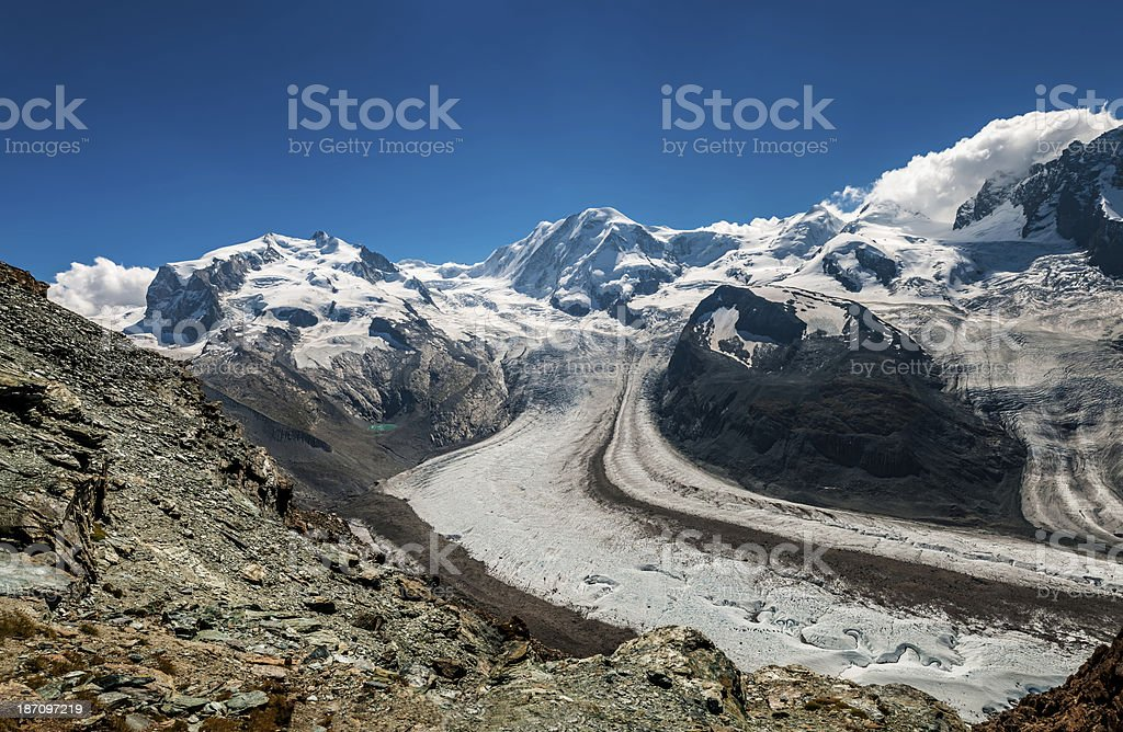 Monte Rosa and Liskamm from Gornergrat point (panoramic) - IX royalty-free stock photo