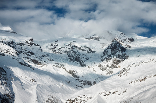 Monte Rosa glacier from Gressoney, Italy. Winter mountain landscape.