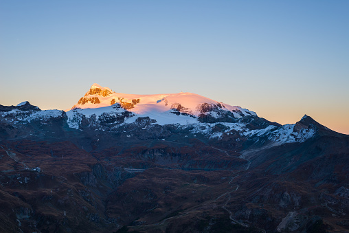 Monte Rosa glaciers glowing at sunset, italian side