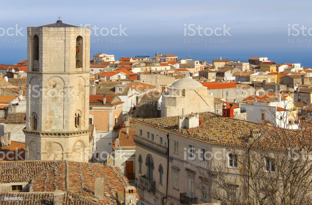 Monte Sant'Angelo is a town on the slopes of Gargano. stock photo