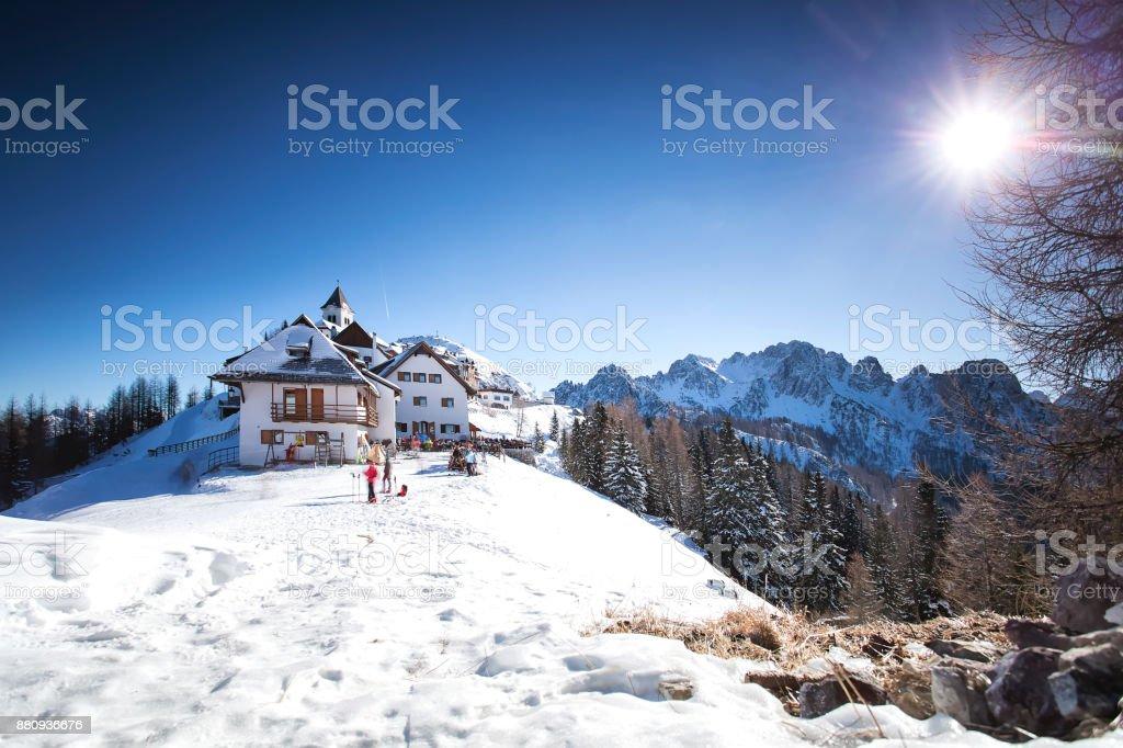 Monte Santo di Lussari stock photo