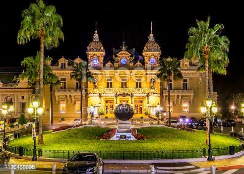 31 july 2017 - Montecarlo, Monaco: Casino of Montecarlo at night