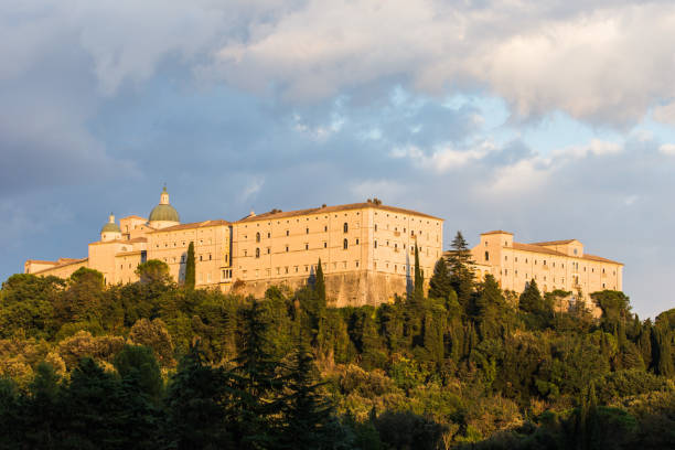 Montecassino abbey in Cassino, Italy Montecassino abbey in Cassino, Ciociaria, Italy friar stock pictures, royalty-free photos & images