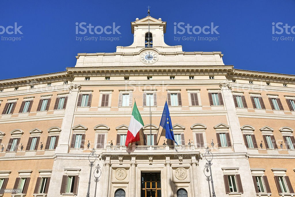 Montecitorio the House of Italian Parliament in Rome stock photo