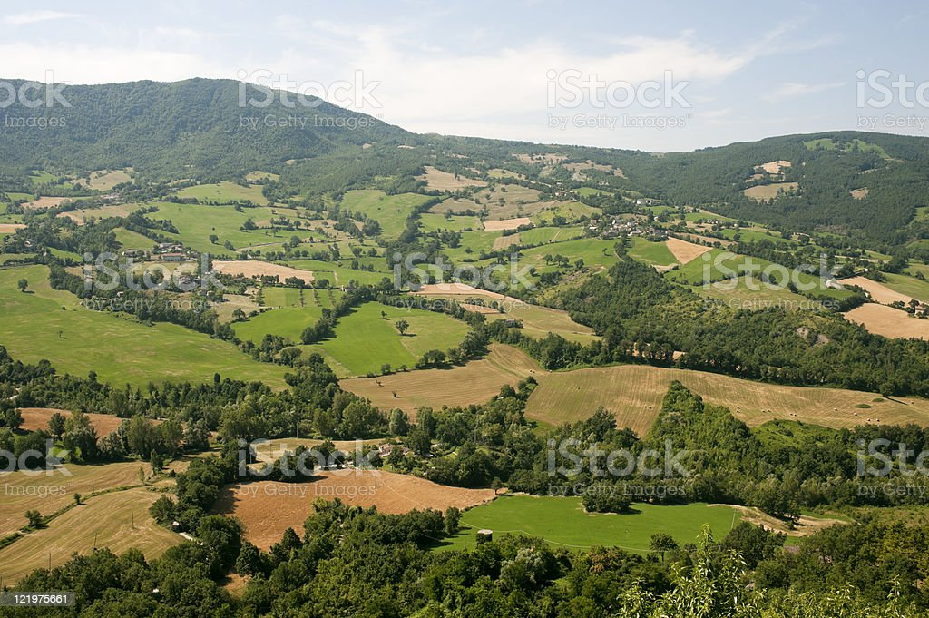 Montefeltro (Marches, Italy), landscape from Pennabilli (Pesaro Urbino) at summer royalty-free stock photo