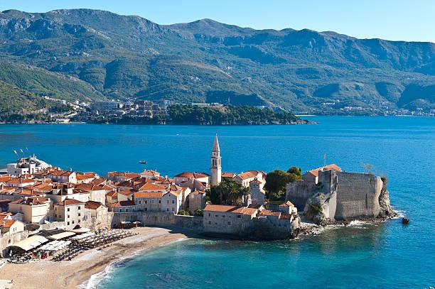 Montenegro, Budva, town top view Budva, old town over view, Montenegro serbia and montenegro stock pictures, royalty-free photos & images