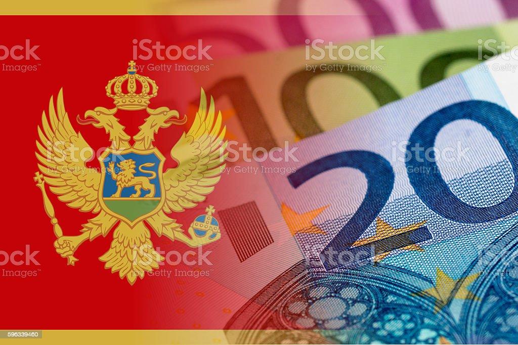 montenegro flag with euro banknotes royalty-free stock photo