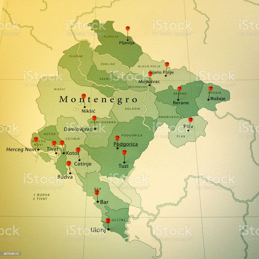 Montenegro Map Square Cities Straight Pin Vintage stock photo