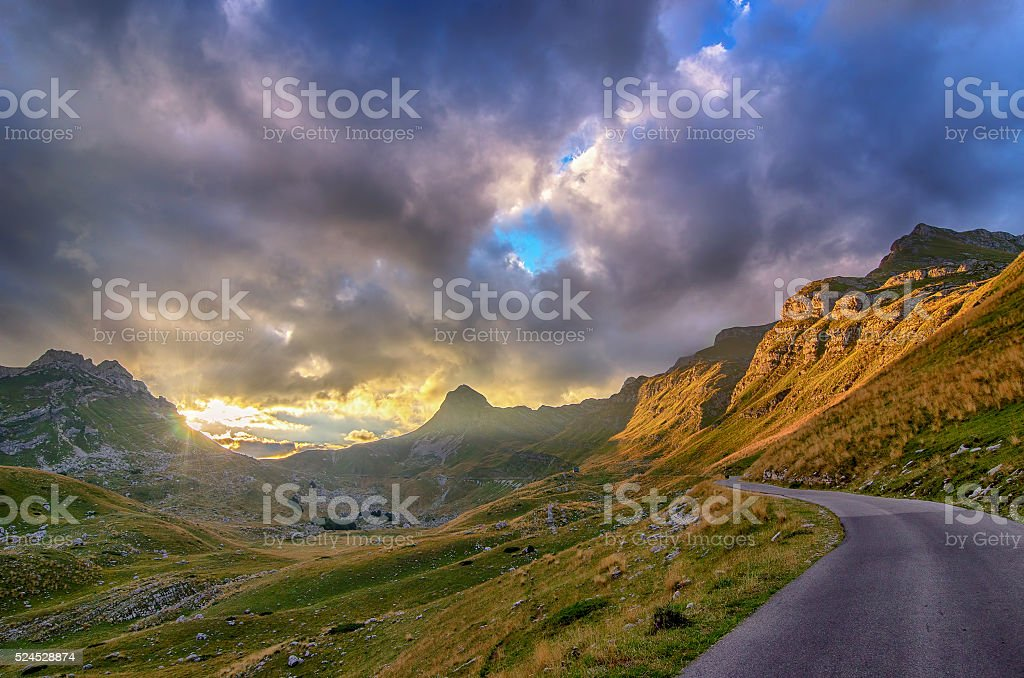 Montenegro, national park Durmitor, mountains and clouds stock photo
