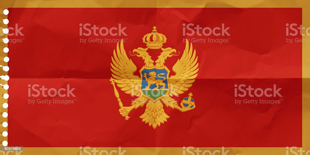 Montenegro on a piece of paper royalty-free stock photo