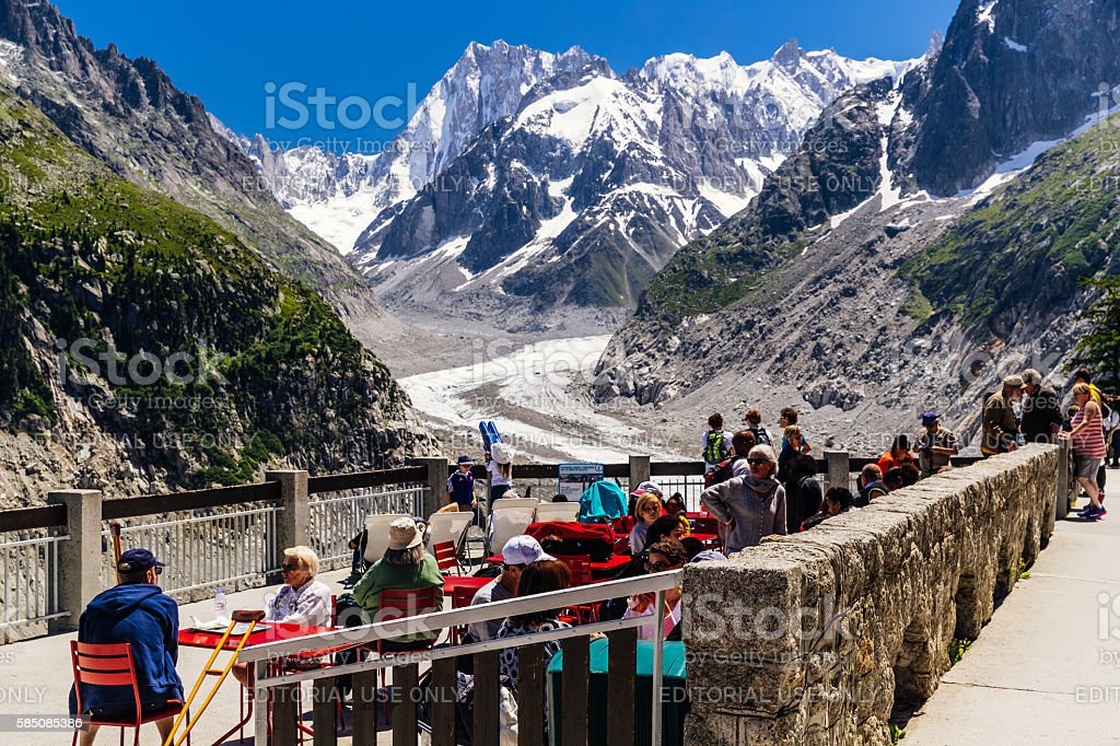 Montenvers, Mer de Glace, Mont Blanc Massif stock photo
