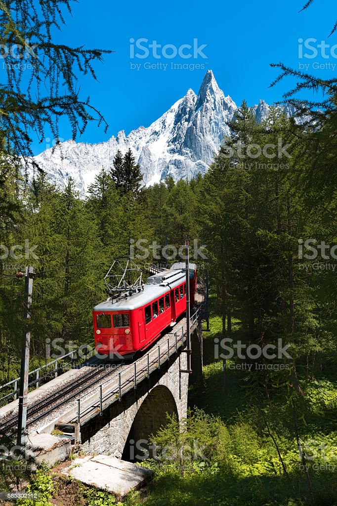 Montenvers train, Les Drus, Chamonix stock photo
