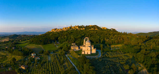 Montepulciano at sunset in Tuscany Italy stock photo