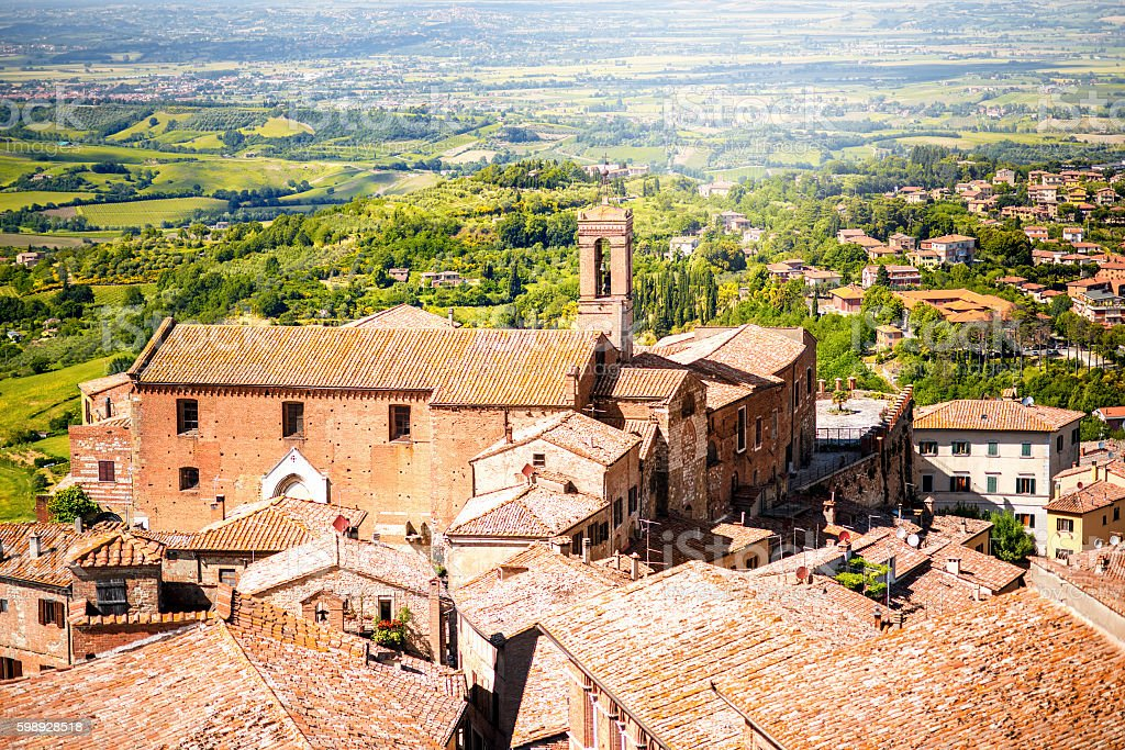 Montepulciano cityscape view stock photo