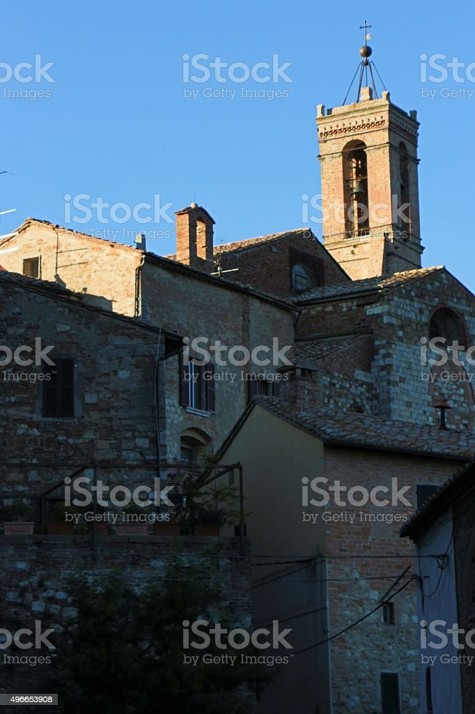 montepulciano - houses in the old town stock photo