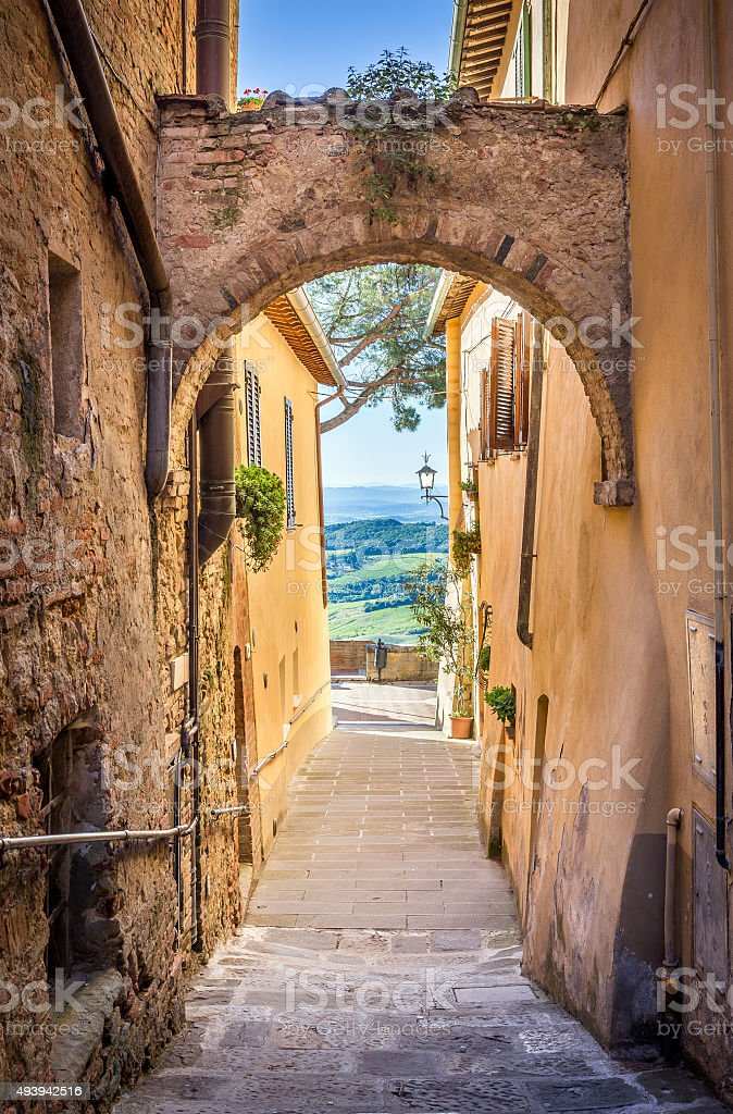 Montepulciano in Tuscany stock photo